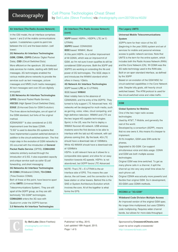 Cell Phone Technologies Cheat Sheet by Steve Fowlkes - Download free