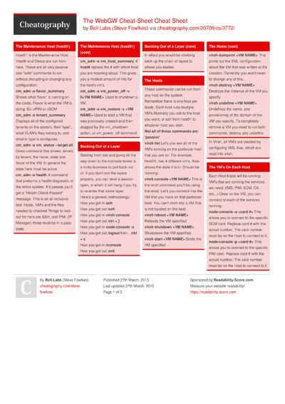 The WebGW Cheat-Sheet Cheat Sheet