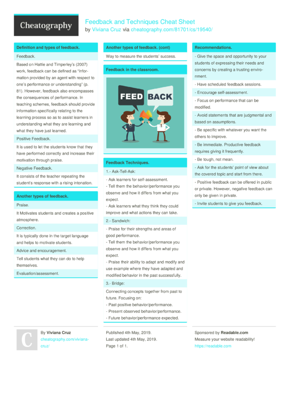 Feedback and Techniques Cheat Sheet by Viviana Cruz - Download free