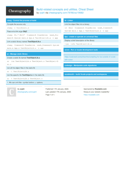 Build-related concepts and utilities. Cheat Sheet